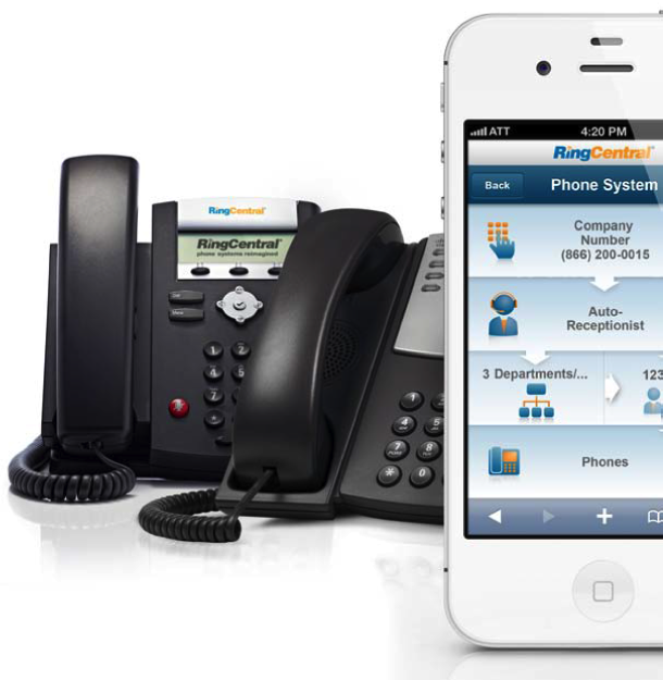 RingCentral IP Phones and iPhone mobile app.